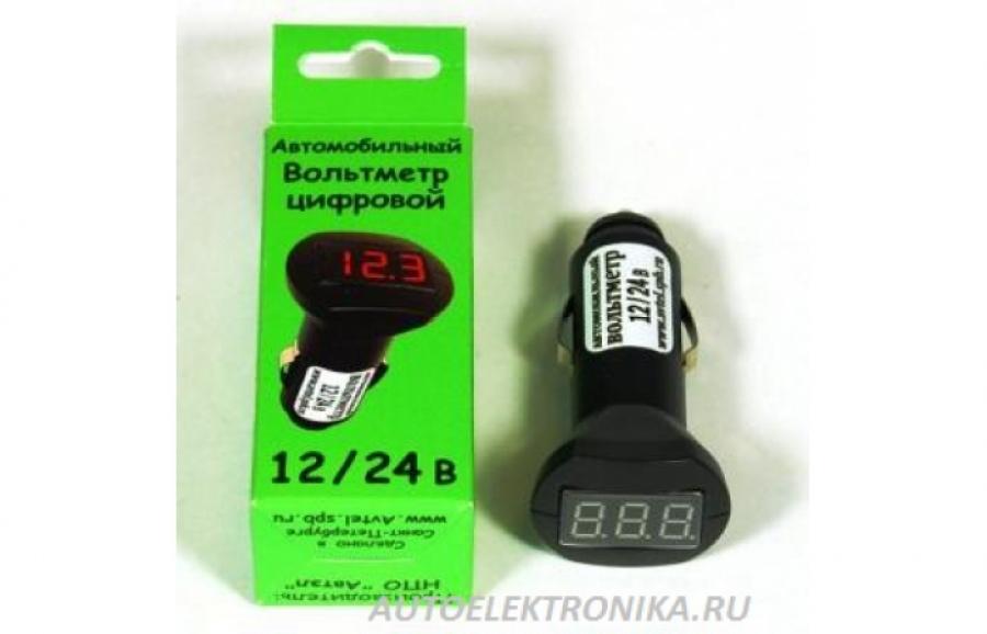 Универсальный вольтметр напряжения в прикуриватель Avtel A104 (постоянное включение 12v или постоянное включение 24v)